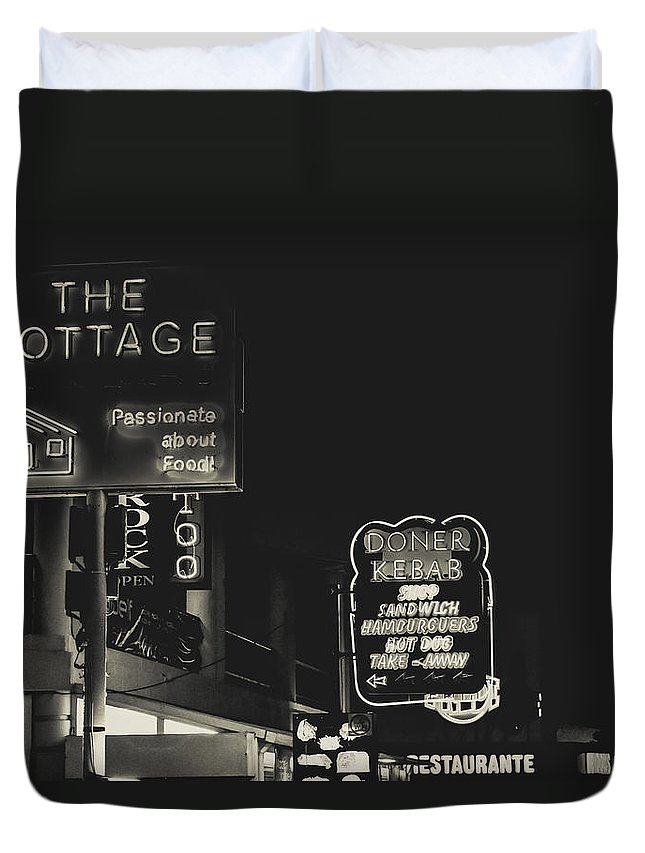 Street Duvet Cover featuring the photograph Albufeira Street Series - The Cottage II by Marco Oliveira