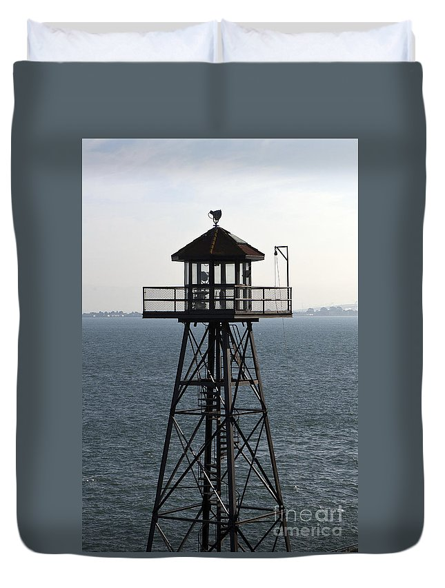 Watchtower Duvet Cover featuring the photograph Alcatraz Watchtower by Jason O Watson