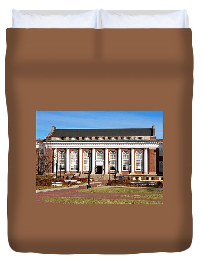 Alderman Library Duvet Cover featuring the photograph Alderman Library At Uva by Melinda Fawver