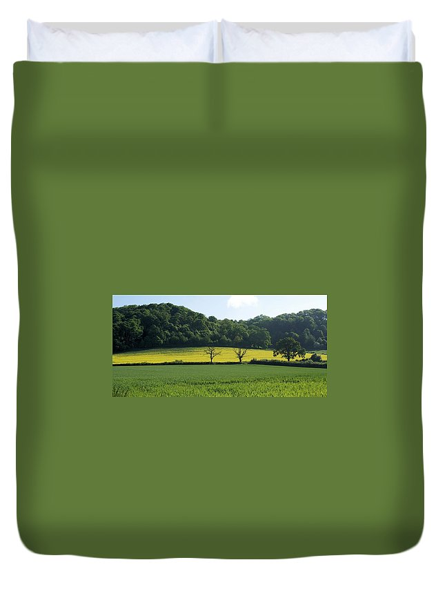 Green Duvet Cover featuring the photograph Alderton Hill by Ron Harpham
