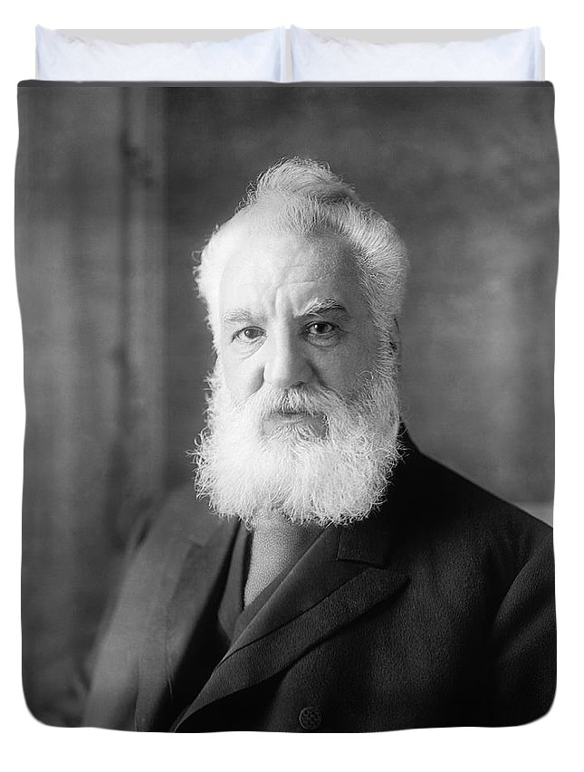 1 Person Duvet Cover featuring the photograph Alexander Graham Bell by Underwood Archives