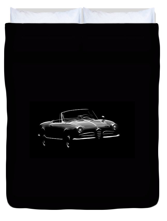 Alfa Romeo Spider Giulia 1600 Car Oldtimer Digital Painting Black White Expressionism Impressionism Motor Sport Sports Duvet Cover featuring the digital art Alfa Romeo 1600 Giulia Spider by Steve K