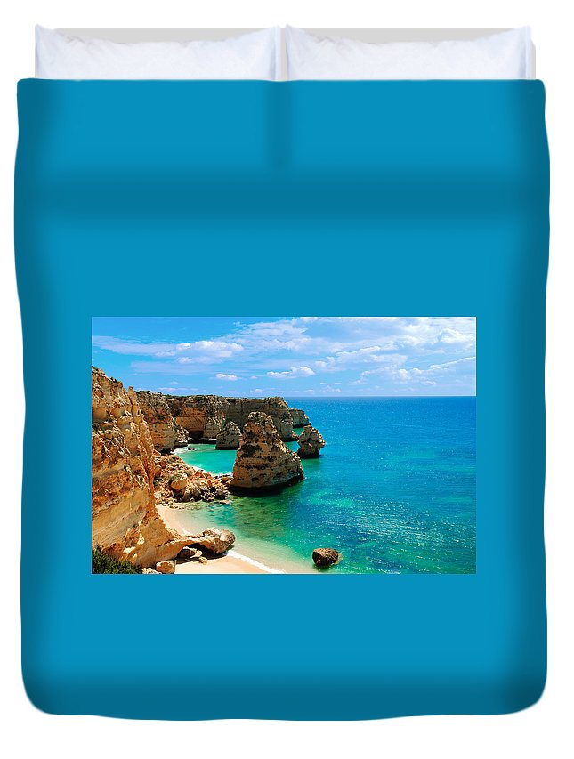 Bay Duvet Cover featuring the photograph Algarve Beach - Portugal by Amanda Elwell