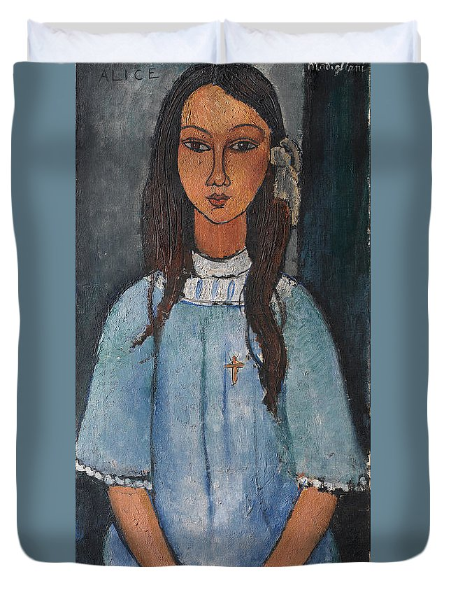 Amedeo Modigliani Duvet Cover featuring the painting Alice by Amedeo Modigliani