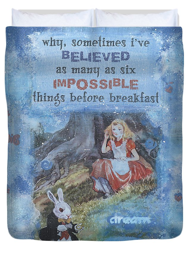Alice In Wonderland Duvet Cover featuring the mixed media Alice Dream by Donine Wellman