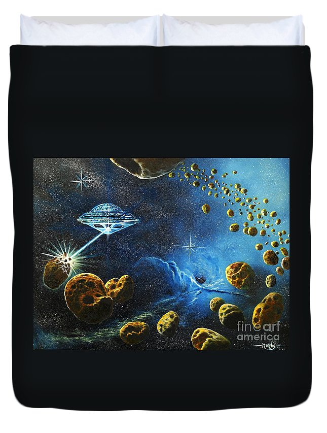 Oil Duvet Cover featuring the painting Alien Asteroid Miners from Mars by Murphy Elliott
