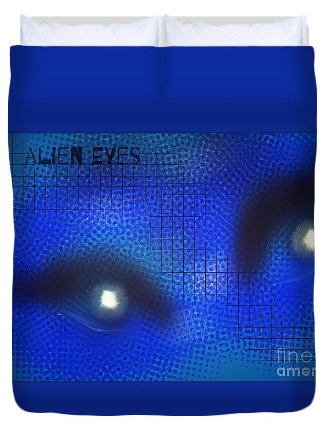 Digital Art Duvet Cover featuring the digital art Alien Eyes 2 by Joan-Violet Stretch