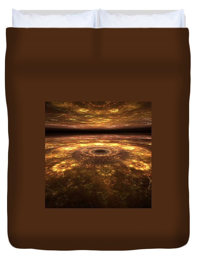 Apophysis Duvet Cover featuring the digital art Alien Landscape by Richard Ortolano
