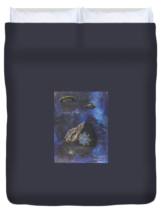 Painting Duvet Cover featuring the painting Alien Space Factory by Murphy Elliott