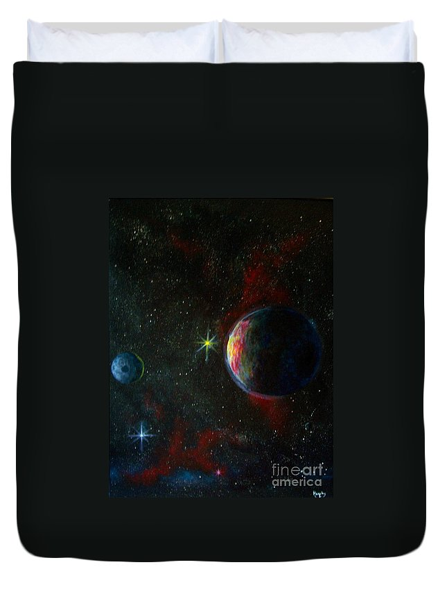 Cosmos Duvet Cover featuring the painting Alien Worlds by Murphy Elliott