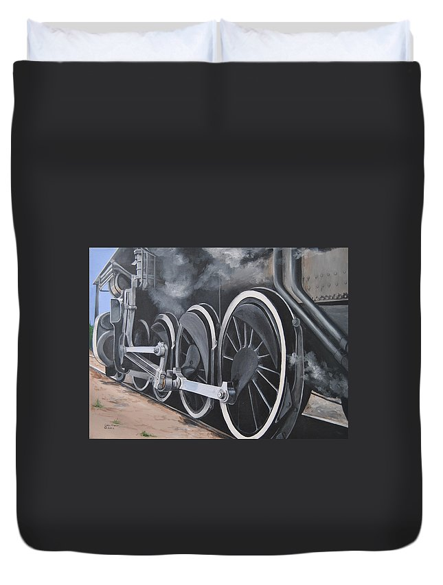 Train Duvet Cover featuring the painting All Aboard by Glen Frear