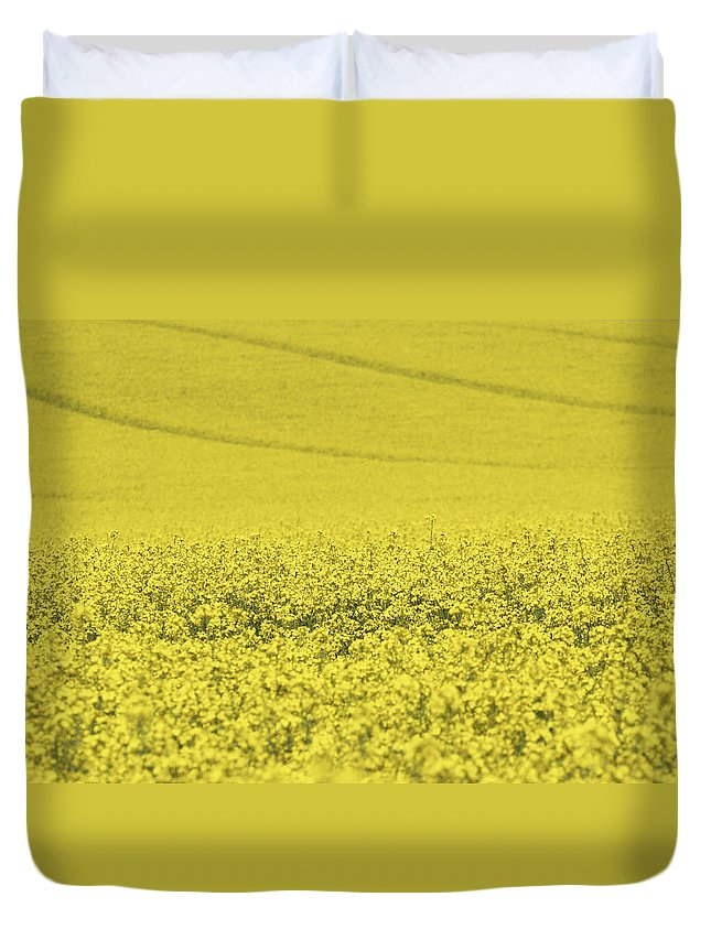 Rapeseed Duvet Cover featuring the photograph All Across The Land 5 by Wendy Wilton