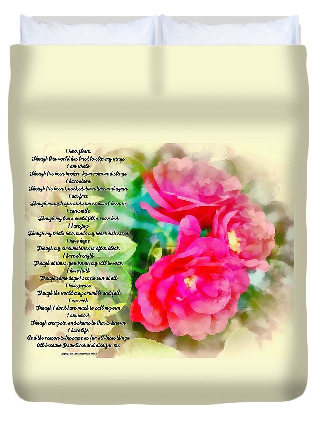 Jesus Duvet Cover featuring the digital art All Because by Michelle Greene Wheeler