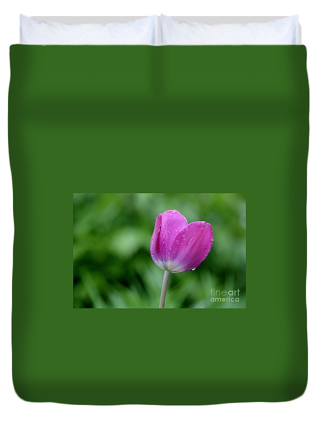 Tulip Duvet Cover featuring the photograph All By Myself by Living Color Photography Lorraine Lynch