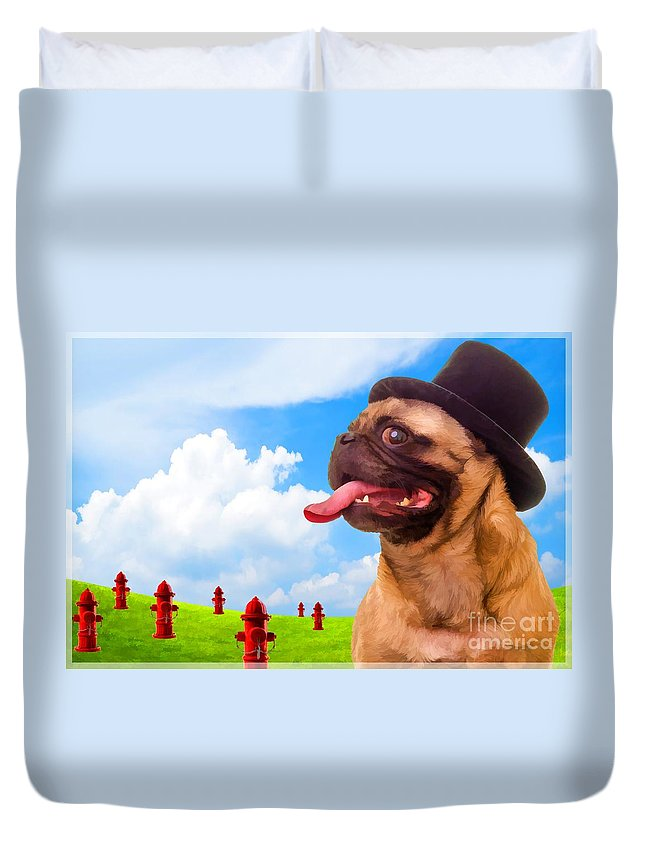 Pug Duvet Cover featuring the photograph All Dogs Go To Heaven by Edward Fielding