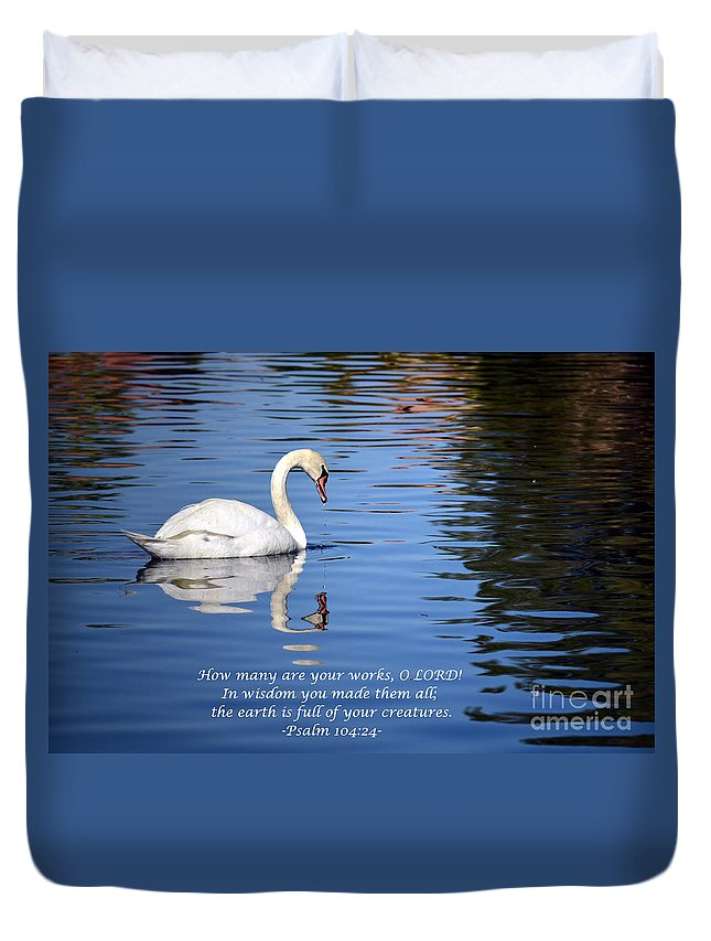 Swan Duvet Cover featuring the photograph All Gods Creatures by Deb Halloran