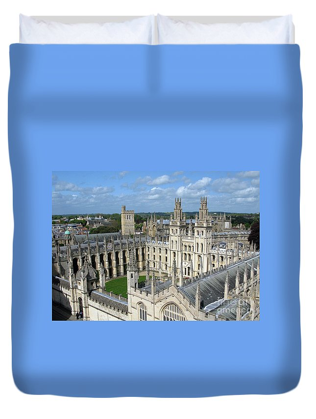Oxford Duvet Cover featuring the photograph All Souls College by Ann Horn