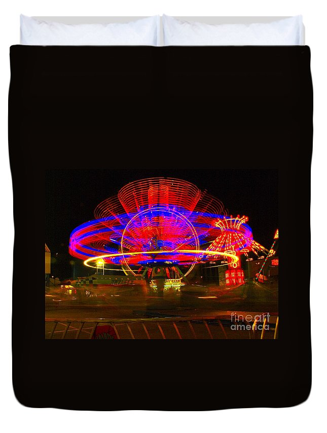 Night Photos Duvet Cover featuring the photograph All The Rides Moving At Once by Jeff Swan