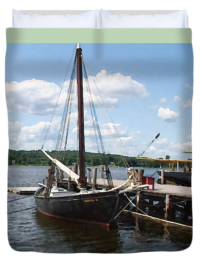Landscape Duvet Cover featuring the painting All Tied Up by RC deWinter