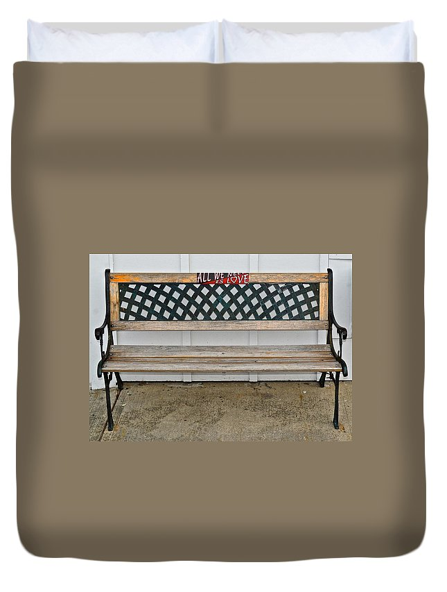 Bench Duvet Cover featuring the photograph All We Need Is Love by Frozen in Time Fine Art Photography