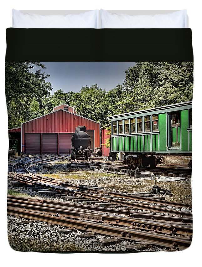 Allaire Village Duvet Cover featuring the photograph Allaire Rail Yard by Heather Applegate