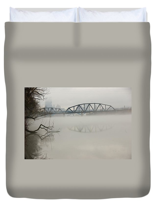 Landscape Duvet Cover featuring the photograph Allegheny In The Mist by Jay Ressler