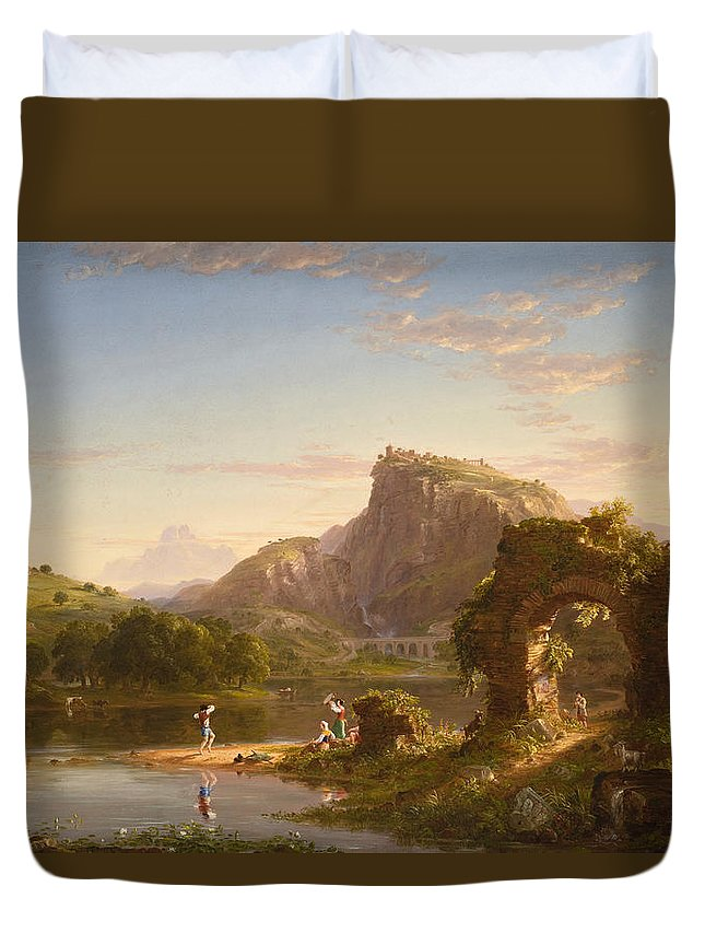 Landscape Duvet Cover featuring the painting Allegro by Thomas Cole