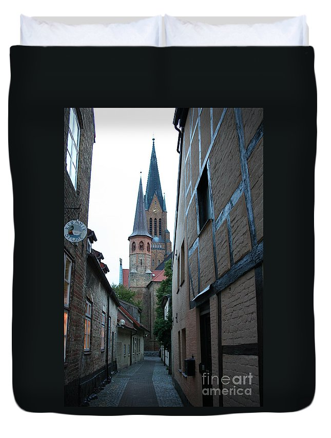 Alley Duvet Cover featuring the photograph Alley In Schleswig - Germany by Christiane Schulze Art And Photography