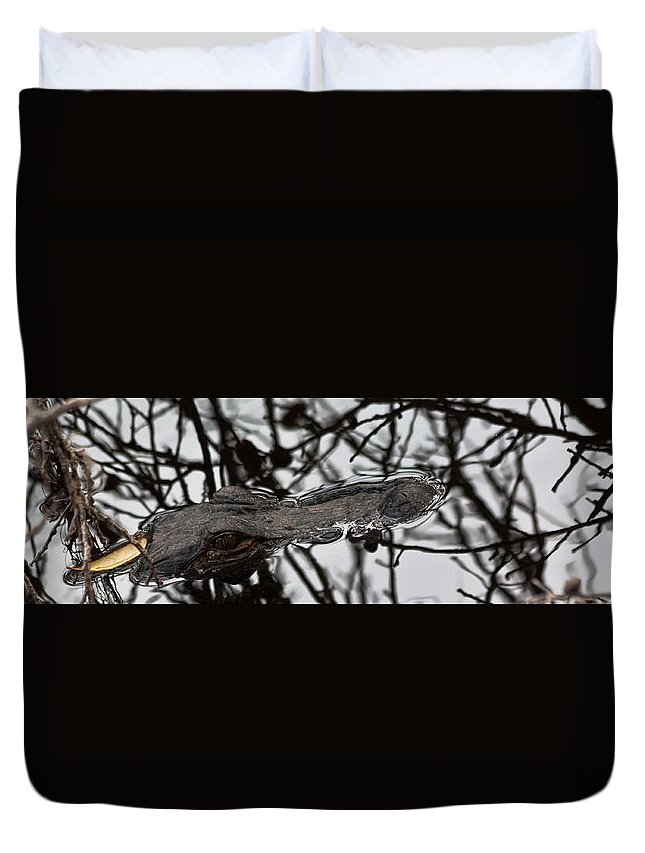 Alligator Duvet Cover featuring the photograph Alligator Eye by Ed Gleichman