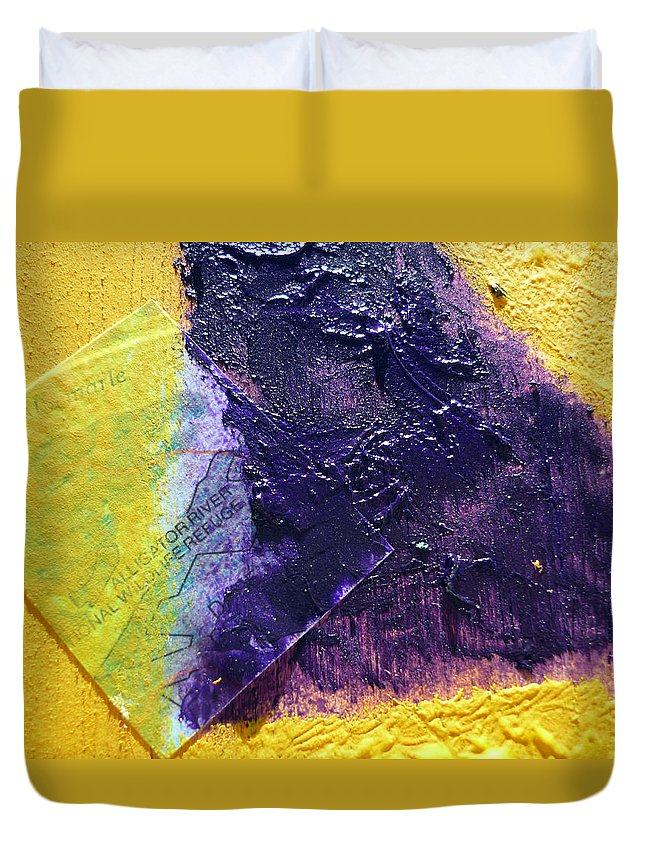 Collage Duvet Cover featuring the mixed media Collage Nr. 11 Alligator River by Jo Ann