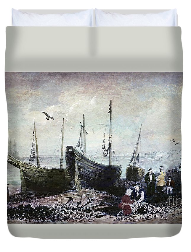 Allonby Duvet Cover featuring the digital art Allonby - Fishing Village 1840s by Lianne Schneider