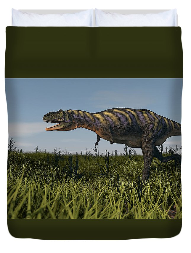 Horizontal Duvet Cover featuring the photograph Alluring Aucasaurus In Grassland by Kostyantyn Ivanyshen