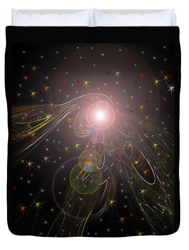 Stars Planet Outter Space Moon Star Nebula Creation Explosion Gasses Black Gold Green Yellow Lime Color Colourful Shining Imaginary World Duvet Cover featuring the digital art Alluring Light by Andrea Lawrence