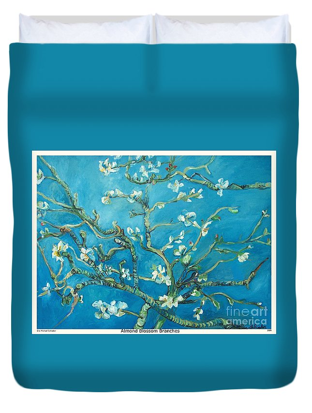 Almond Blossom Branches Duvet Cover featuring the painting Almond Blossom Branches Print by Eric Schiabor