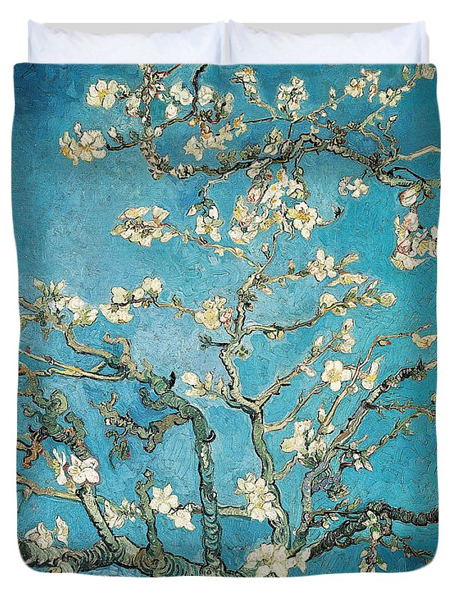 Van Duvet Cover featuring the painting Almond branches in bloom by Vincent van Gogh