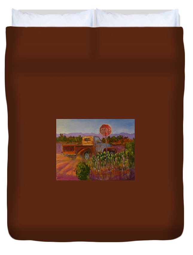Car Art Duvet Cover featuring the painting Almost Home - Art By Bill Tomsa by Bill Tomsa