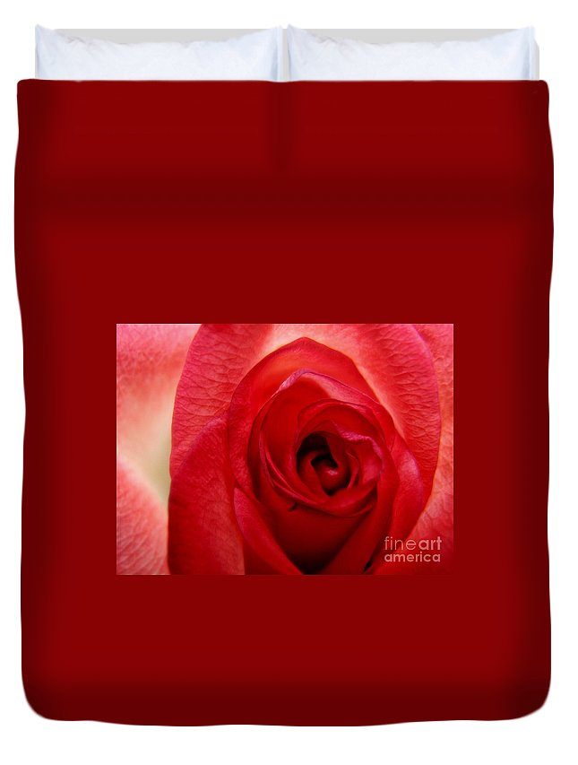 Rose Duvet Cover featuring the photograph Almost Red by Peggy Hughes