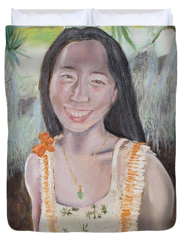 Aloha Duvet Cover featuring the painting Aloha Jade by Jeffrey Oleniacz
