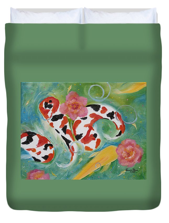 Koi Duvet Cover featuring the painting Aloha Koi by Judith Rhue