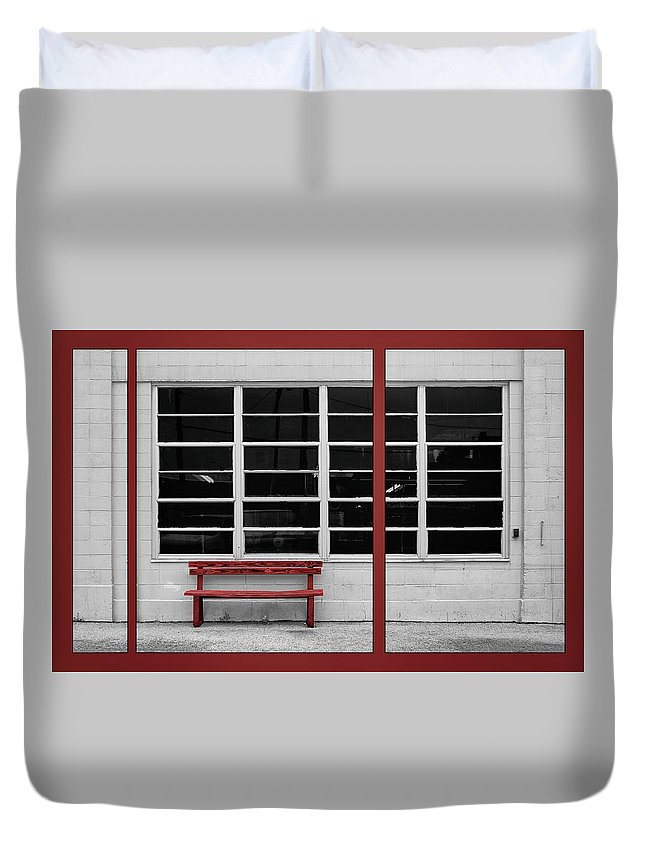 Bench Duvet Cover featuring the photograph Alone - Red Bench - Windows by Nikolyn McDonald