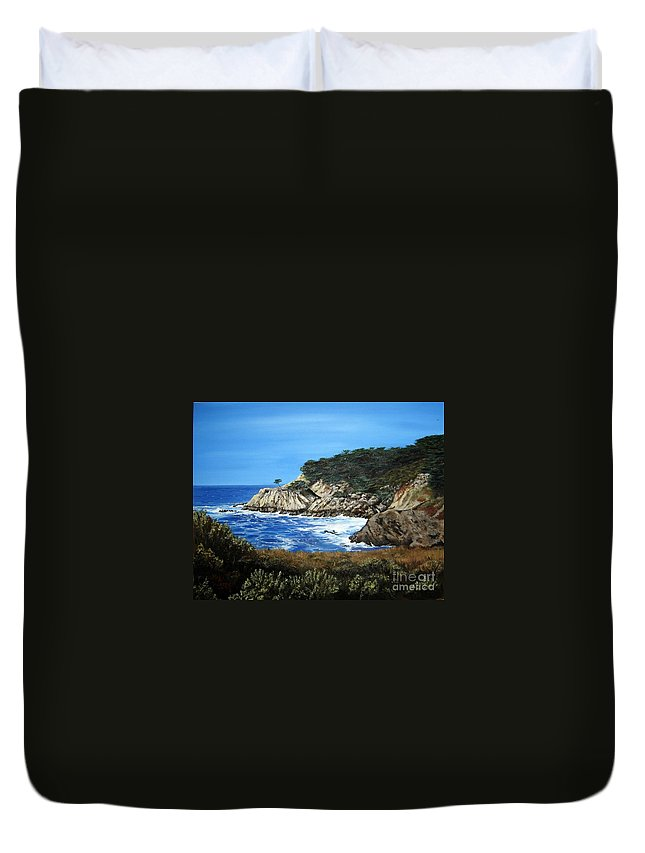 Landscape Duvet Cover featuring the painting Along The California Coast by Mary Rogers