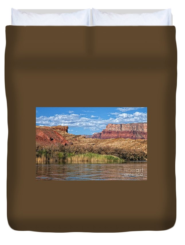 Lees Ferry Duvet Cover featuring the photograph Along The Colorado River by Claudia Kuhn
