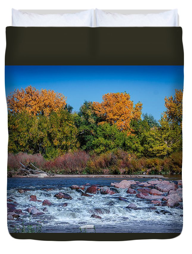Creek Duvet Cover featuring the photograph Along The Creek by Ernie Echols
