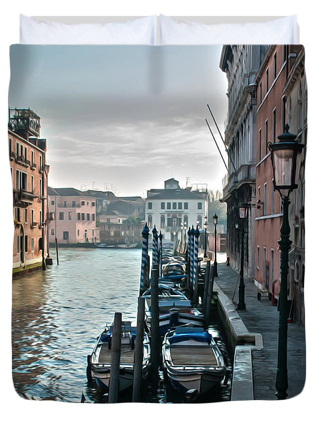 Venice Duvet Cover featuring the photograph Along The Ghetto by Andrea Risi
