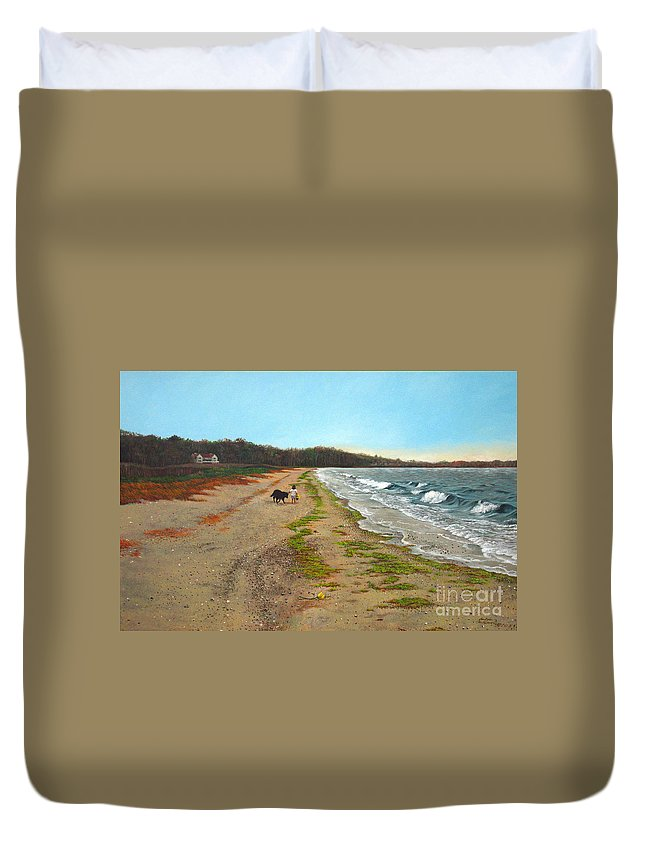 Beach Duvet Cover featuring the painting Along The Shore In Hyde Hole Beach Rhode Island by Christopher Shellhammer