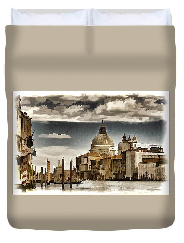 Gondola Duvet Cover featuring the photograph Along The Venice Canal by Jon Berghoff