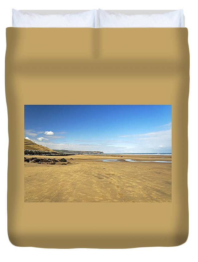 Britain Duvet Cover featuring the photograph Along Whitby Sands by Rod Johnson