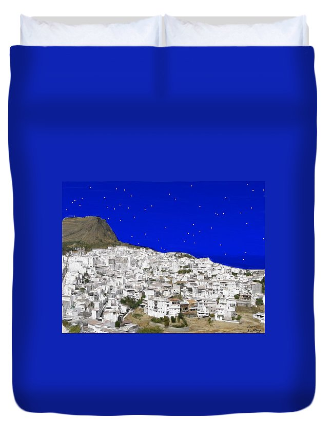 Alora Duvet Cover featuring the painting Alora Malaga Spain At Twilight by Bruce Nutting