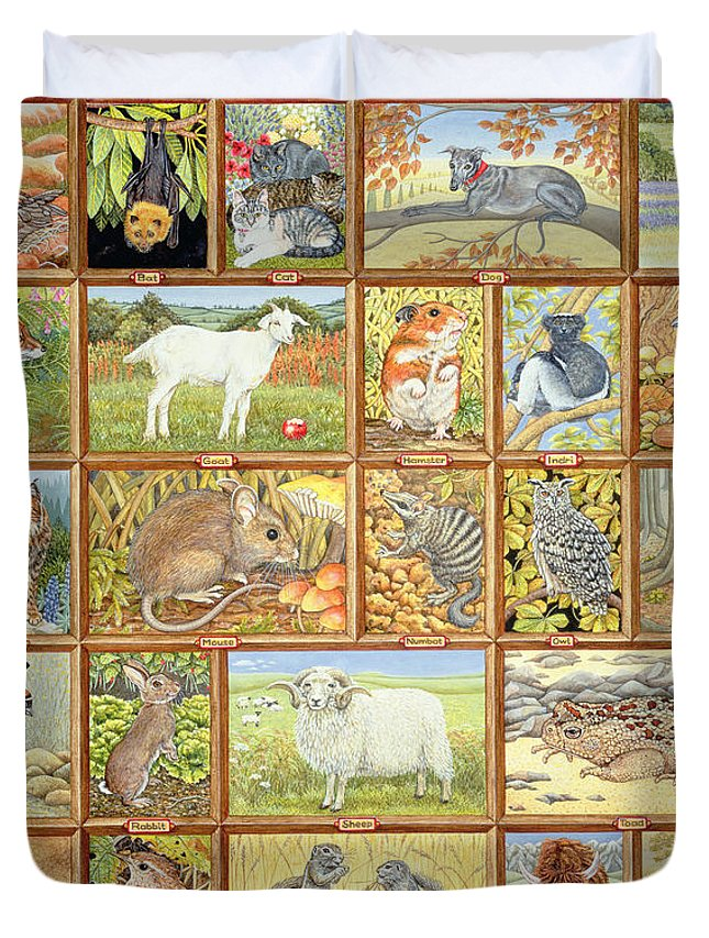 Albatross Duvet Cover featuring the painting Alphabetical Animals by Ditz