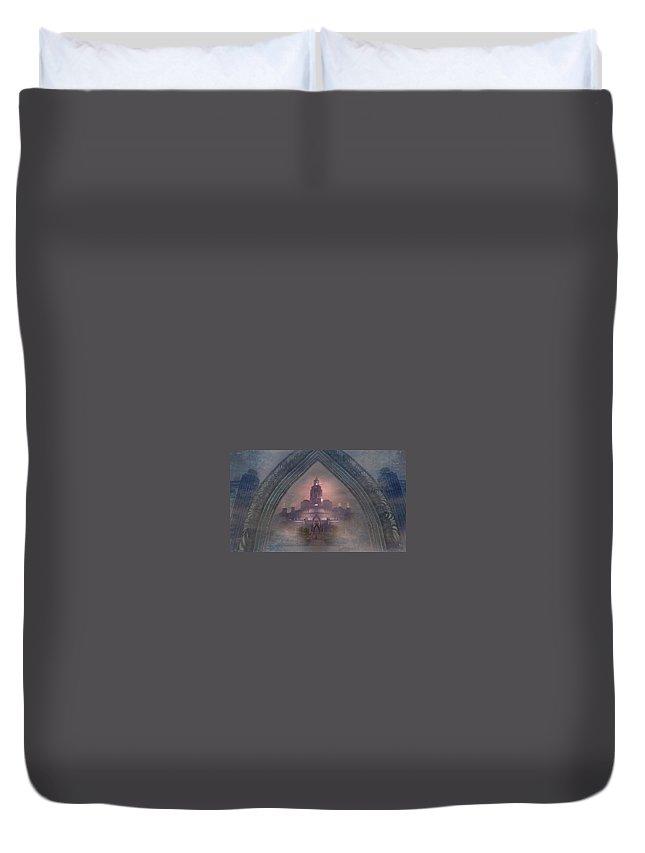 Celtic Duvet Cover featuring the digital art Alqualonde Castle by Kylie Sabra